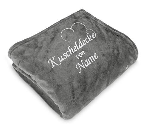 Direkt-Stick.de Kuscheldecke Bestickt mit Namen, 150 x 200 cm, Wohndecke Personalisieren mit Stickerei, Decke selbst gestalten, Romantisches Namensgeschenk mit Herz (steingrau)