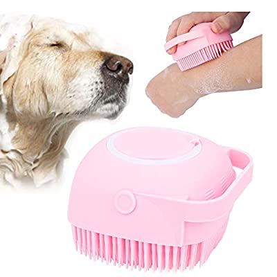 NganSuRong Pet Dog Bath Brush Pet SPA Massage Rubber Comb Soft Silicone Puppy Cats Shower Hair Fur Grooming Cleaning Scrubber With Shampoo Soap Storage (Pink)