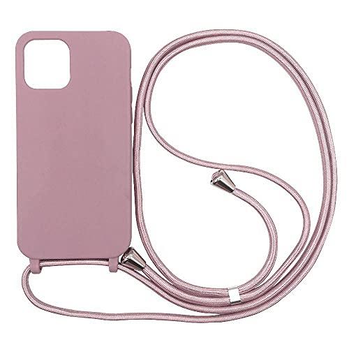 Hykjt Funda con Cuerda Compatible con iPhone 11 Pro,Ajustable Collar Correa de Cuello Cordón Carcasa Caja Silicona Líquida TPU Bumper Caso-Rose Oro
