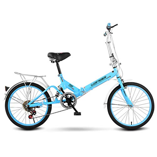 Adult Folding Bike, 20 inch Single Speed Portable Outdoor Travel Bicycle City Urban Commuters for Adult Teens,Lightweight Carbon Steel Frame, Rear Carry Rack