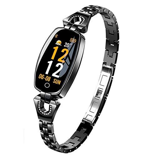 FOTGL 2021 Marca de Lujo Mujer Smart Watch Pulsera Inteligente Reloj Presión Arterial Monitor de Ritmo cardíaco Monitor Fitness Tracker Sport Pulsera para Android iOS Lady (Color : Black)