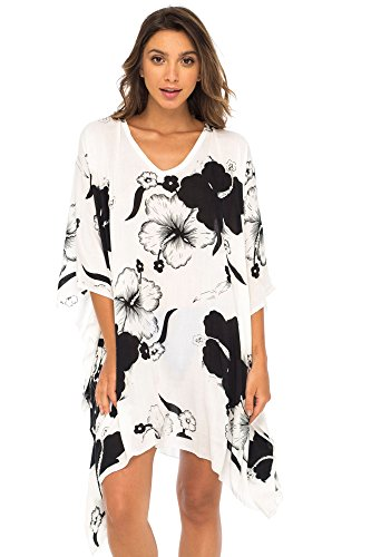 Back From Bali Womens Swimwear Cover Up, Floral Beach Dress for Bikini Swimsuit with Sequins Black