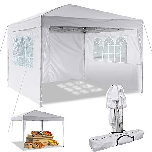 Pavillon 3x3m/3x6m Wasserdicht Zelt Partyzelt Faltpavillon Gartenzelt für Garten Markt Camping Hochzeiten Festival mit 4 Seitenteilen UV-Schutz 50+ (Weiß, 3x3m)