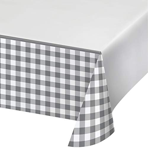 Tischdecke aus Papier mit Büffel-Karomuster, Grau und Weiß, 1 Stück