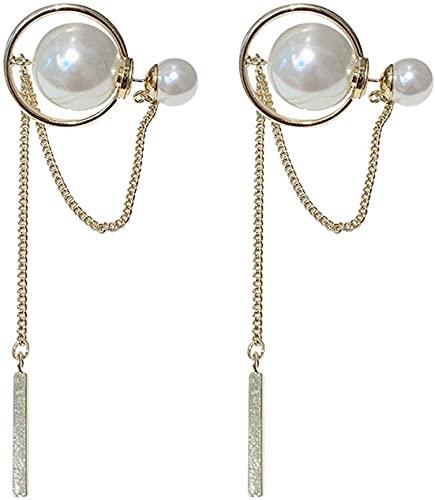 OUHUI Pendientes Colgantes Geométricos de Moda de Metal para Mujer, Pendientes de Perlas, Joyería Femenina con Borlas a la Moda, Pendientes Colgantes para Mujer Exquisito