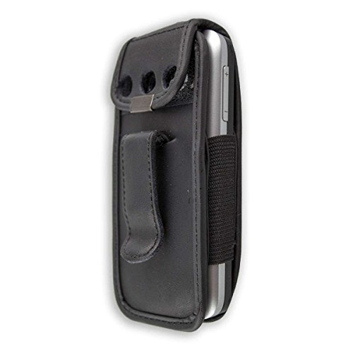 caseroxx Bolsa de Cuero con Clip para el cinturón para Alcatel 2008G, Funda Carcasa de Cuero Real en Negro