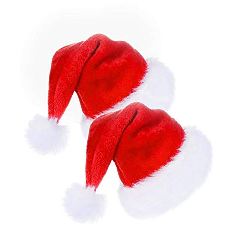 CENXINY Weihnachtsmütze 2 Stück, Plüsch Nikolausmütze Roter Samt Doppelte Schicht für Erwachsene und Kinder ab 10 Jahren, Weihnachtsmütze für Weihnachts- und Weihnachtsfeiern, Weihnachtskonzert