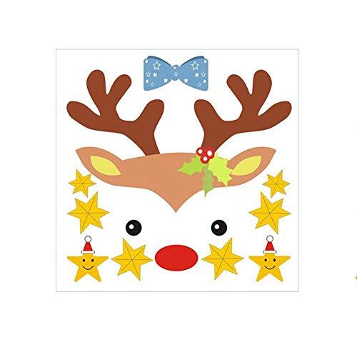 lingzhuo-shop Muursticker Aftrekplaatjes Ruimtedecoratie Kerstglas zelfklevend kinderkamer eland sticker kerstwanddecoratie behang