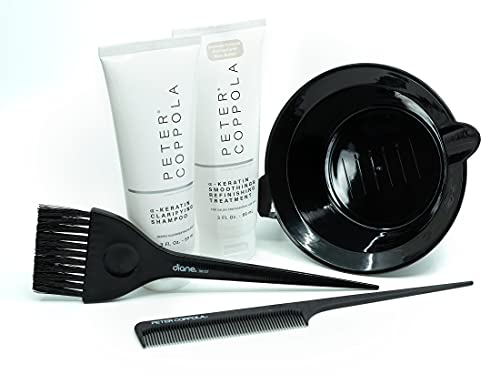 Peter Coppola Keratin Hair Treatment Kit - At Home Keratin Treatment - Straightens and Smooths All Hair Types - Includes Treatment, Shampoo, Bowl, Brush & Comb.