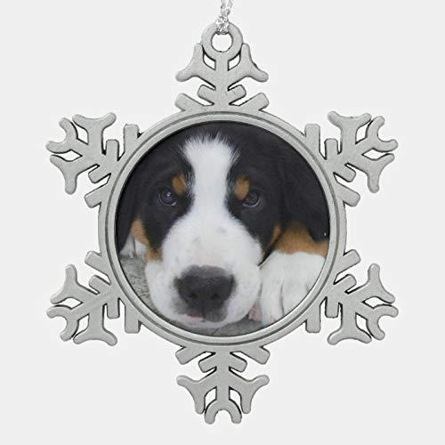 JamirtyRoy1 Christmas Ornament, Swiss Mountain Dog Pewter Snowflake Ornament, Xmas Tree Hanging Decorations, Home Decor, Keepsake Gift, 3 Inch Snowflake Ornament