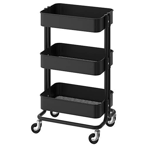 "SNUNGPHIR IKEA Aerglo RASKOG Kitchen and Living Room Trolley (35x45x78 cm/13 3/4x17 3/4x30 3/4"", Black)"