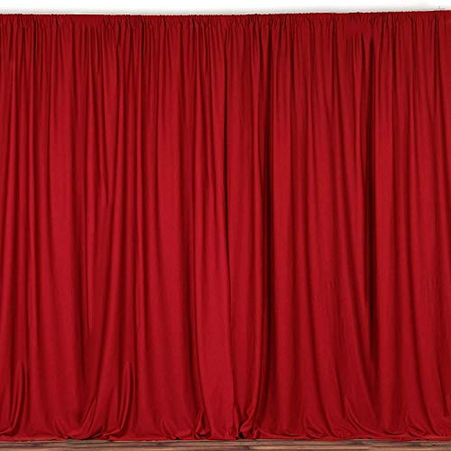 New Creations Fabric & Foam 10 Feet Wide by 10 Feet High Seamless Polyester Backdrop Drapes Curtains Panel - (Red)