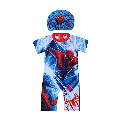 MYYLY Spiderman Cosplay Maillot De Bain Garçon Fille Extérieur Protection UV Maillots Été Enfant Ensemble avec Casquette Onesies,Blue-S Kids (105~115CM)