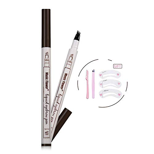 Eyebrow Tattoo Pen-Eyebrow Pen Waterproof Microblading Eyebrow Pencil with a Micro-Fork Tip Applicator Creates Natural Looking Brows Effortlessly (4# Black