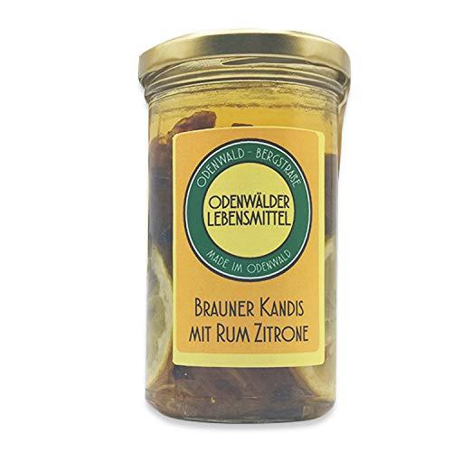 Odenwälder Lebensmittel – 250ml brauner Kandis mit Rum und Zitrone – Made in Germany – Kandis für Tee und Kaffee