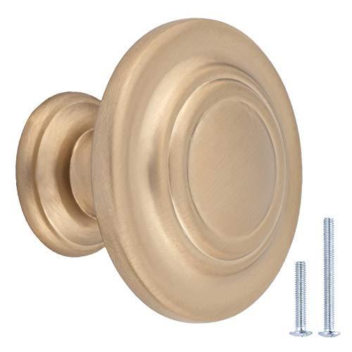 Amazon Basics - Tradizionale pomello ad anello per armadio, 3,17 cm di diametro, champagne dorato, confezione da 25