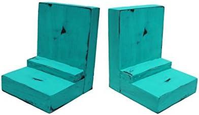 2 Piece Wood/Wooden Bookends - Aqua - Decorative Distressed Vint