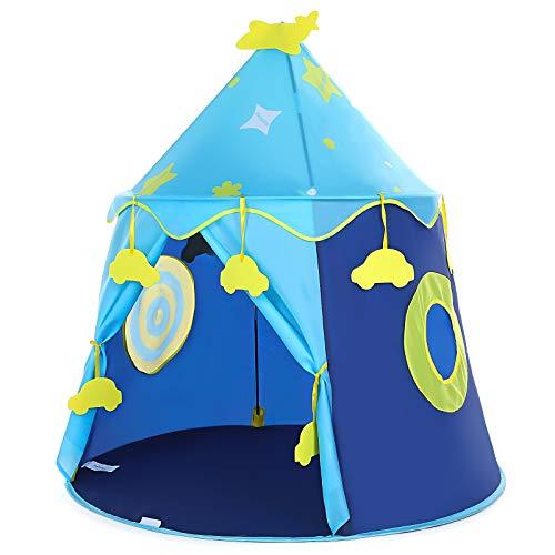 Peradix Spielzelt Prinzenschloss Zelt für Jungs Kleinkinder Pop-up Indianerzelt mit Tragetasche, Geschenk für Kinder Zuhause & im Garten (Blau)