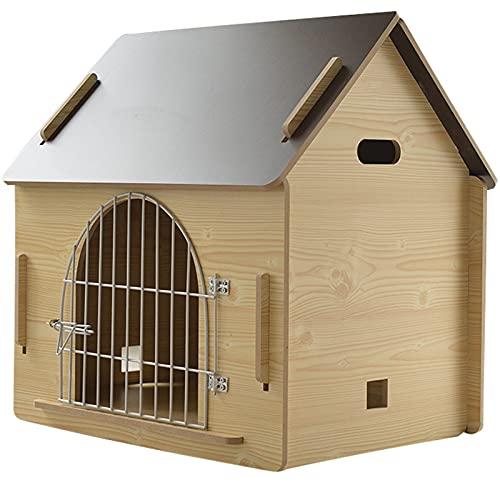 La caseta de madera para perros / casa PET es transpirable y es portátil y fácil de limpiar, la casa para mascotas con puerta de hierro de tres...