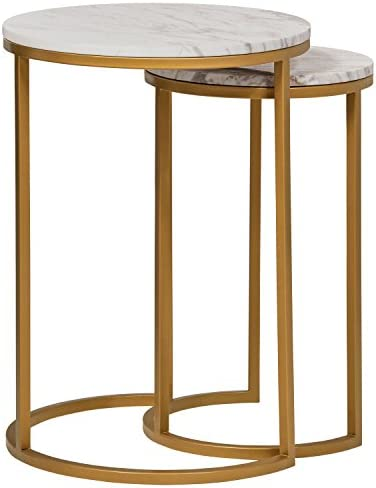 Best Amazon Brand – Rivet Nesting Side Table, Set of 2, Circular Modern, Marble and Gold