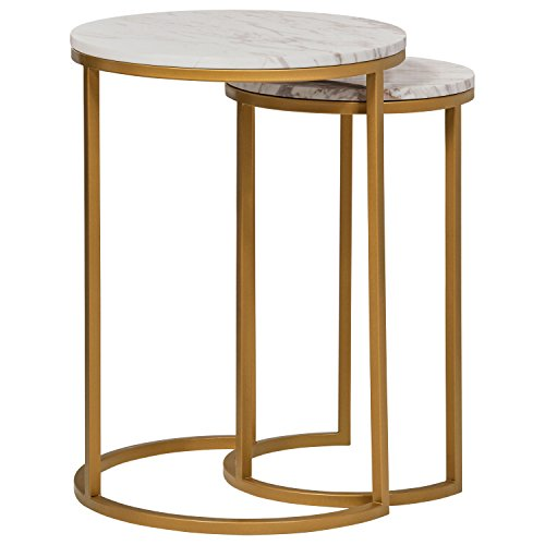 Amazon Brand  Rivet Nesting Side Table, Set of 2, Circular Modern, Marble and Gold