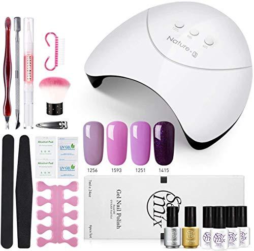 Sexymix UV Nagellack Starterset, LED Nageltrockner mit 4 Nagellack Kit, Base und Top Coat enthalten,...
