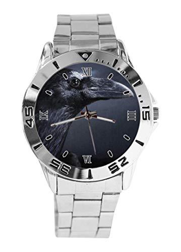Reloj de pulsera con diseño de pájaro de cuervo negro cuervo con esfera plateada y correa de acero inoxidable clásico para hombre