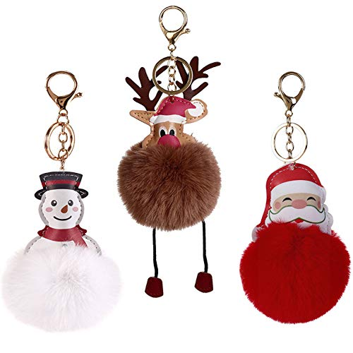 Gywantt Pom Poms Keychain, 3PCS Christmas Furball Keychain Snowman Santa Claus and Wapiti Puff Ball Keychain Car Key Ring or Handbag Bag Decoration
