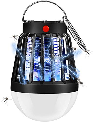 ShinePick Lampara Antimosquitos, 2 en 1 Antimosquitos Electrico UV Portátil, Carga Solar y Recargable USB Camping Insect Killer para Salón, Cocina,Despacho y Habitación Infantil