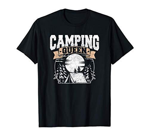 Regalo de la reina del camping Silueta de campista Amor Camiseta