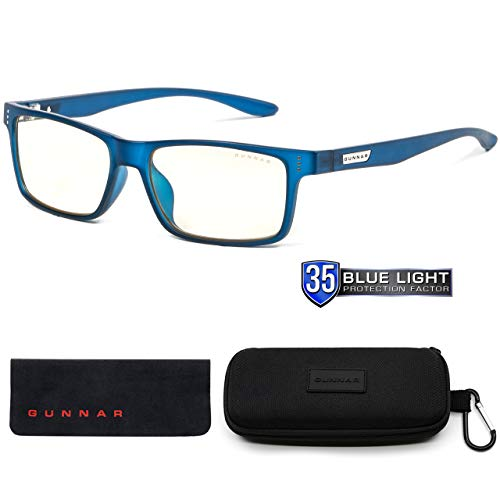GUNNAR Youth Gaming and Computer Eyewear /Cruz, Navy Frame, Clear Tint - Patented Lens, Reduce Digital Eye Strain, Block 35% of Harmful Blue Light