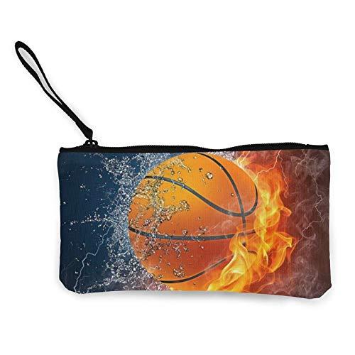 Monedero de lona con diseño de baloncesto en fuego y llama de agua, bolsa de maquillaje de viaje, bolsa de dinero en efectivo, estuche para lápices