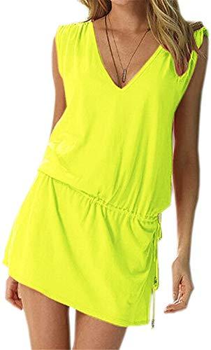 Moceal - Vestido sin mangas para mujer, de verano, sexy, para la playa, informal, tallas grandes, para cócteles, ceremonias, fiestas amarillo S-XL