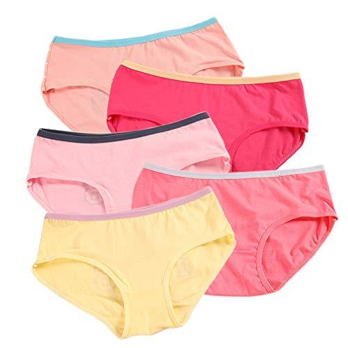 CozyBella katoenen ondergoed tiener meisjes Pack van 5 ademende effen lingerie slipje korte set