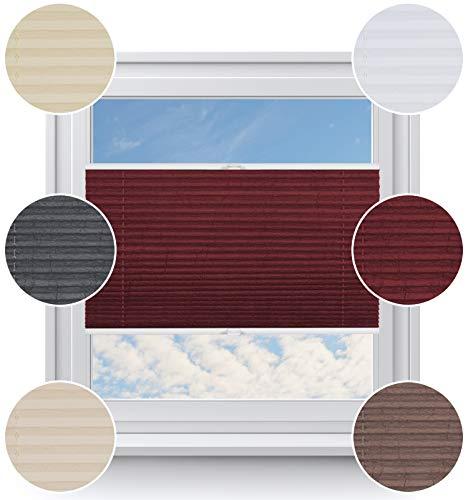 Rollo StudioModerner Crushed Optik, Fenster Plissee auf Maß, ohne Bohren mit Neu Klemmfix Smartfix Jalousie System, Viele Größen und Farben, für alle Fenster, Fensterrollos, Dunkelrot