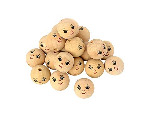25 Holzköpfe mit Gesicht Wichtel ø 22mm weiblich Puppen VBS Großhandelspackung