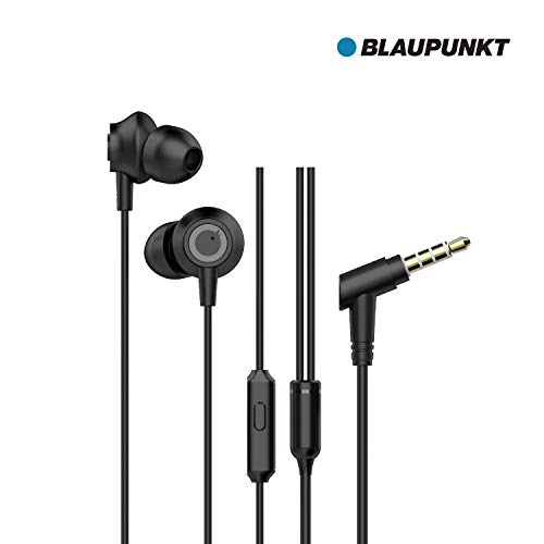 Blaupunkt EM10 Wired Earphone with Super High Bass in-Line Mic &Multi-Functional Remote (Black)