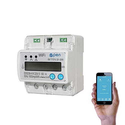 WIFI smart energy meter misuratori di corrente 5 (60) A 110 V 230 V 50 HZ 60 HZ monofase Din rail over e under voltage protezione di corrente RS485 contatore corrente