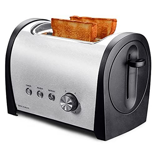 DEKINMAX Tostapane per pane a 2 fette in acciaio inox, tostapane con funzioni di riscaldamento e scongelamento e 6 livelli di tostatura, 800 W
