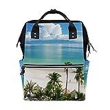 Playa costa mar palmeras pañales mochila para mamá bolsa de pañales de gran capacidad bolsa de bebé mujeres mochila de viaje escuela portátil senderismo bolsa