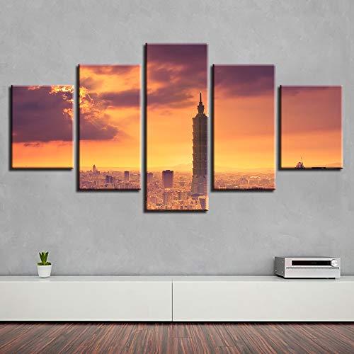 Kunstdruk op canvas, modern frame, voor binnen, woonkamer, 5 panelen, zones, gebouwen, doek, HD-druk, schilderij, modulaire foto
