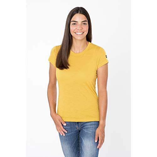 super.natural Damen Kurzarm Shirt, Mit Merinowolle, W ESSENTIAL TEE, Größe: M, Farbe: Senf meliert