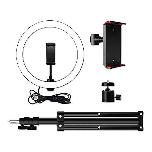 Selfie Ringlicht, Einrichtbar Fülllicht 10-Zoll-Selfie Licht Dimmbare Kalt Warm LED-Ringlicht 10 Stufen mit Stative Telefon Tablet-Halter for Live-Make-up Video Licht (Color : 1 set)