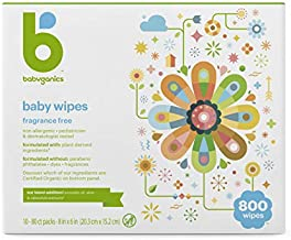 Baby Wipes, Babyganics Unscented Diaper Wipes, 800 Count, (10 Packs of 80), Non-Allergenic and formulated with Plant Derived Ingredients