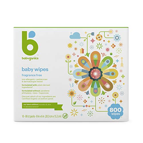 Babyganics Baby Wipes, Unscented, 800 Count, (10 Packs of 80)