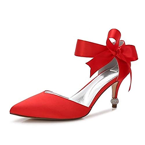 BIUU Zapatos de Boda Mujer Gatito Tacón/Tacón Cono/Tacón Bajo Puntiagudo Bowknot/Satén Flor/Cordones Satén Confort Primavera/Verano