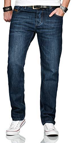 A. Salvarini Designer Herren Jeans Hose Basic Stretch Jeanshose Comfort Fit [AS-202-Dunkelblau-W42-L32]
