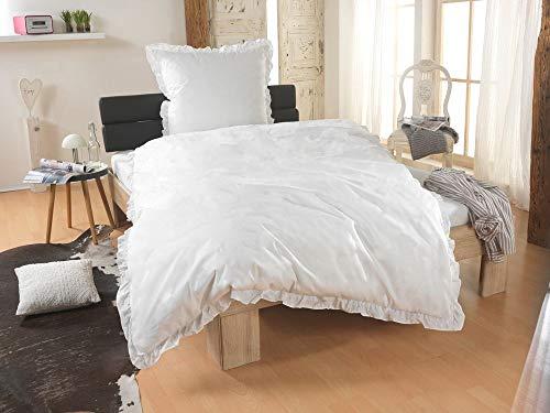 Dreamhome  Renforcé Bettwäsche Rüschen 135x200 Landhaus Uni Farben Reißverschluß Romantik, Farbe:Weiss-Uni