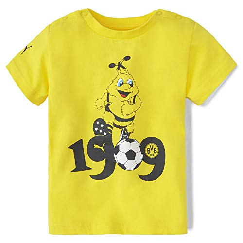PUMA Kinder BVB Minicats Graphic Tee T-Shirt, Cyber Yellow Black, 80