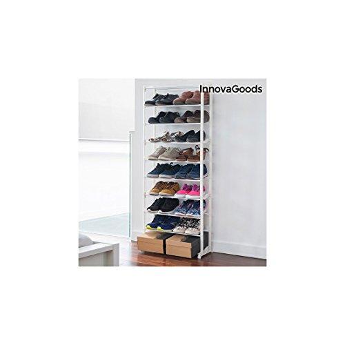 InnovaGoods Meuble à Chaussures avec capacité 30 Paires, Acrylique, Blanc, 50 x 135 x 25 cm